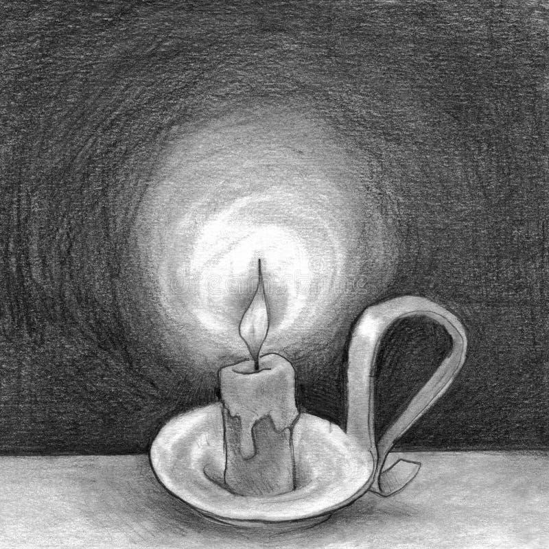 Stearinljus i mörkret vektor illustrationer