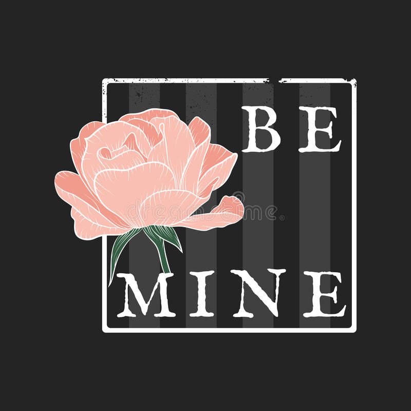 Free I`m Free Be Mine Slogan With Rose And Striped Background. Stock Images - 97396474