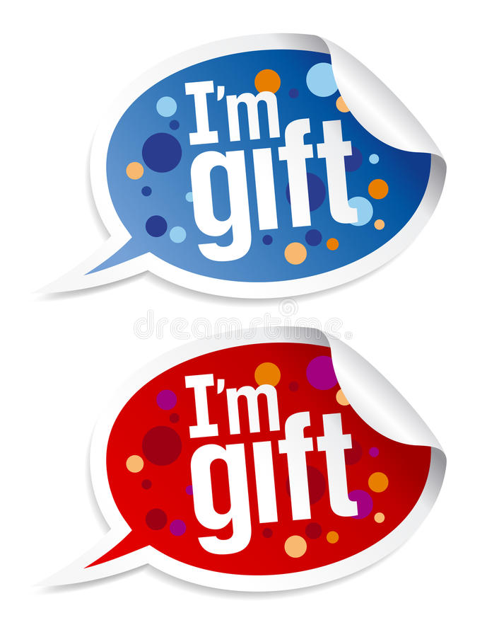 Download I`m gift stickers set. stock vector. Image of sign, bubbles - 17010666