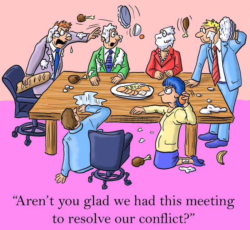 I'm glad we had this meeting to resolve conflict stock illustration