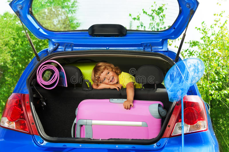 I'm so happy to go for a trip stock image