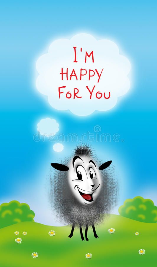 I'm Happy For You! message. Digital illustration. Cute sheep with message on white cloud. Green summer background, blue sky and trees and chamomile, flowers on stock illustration