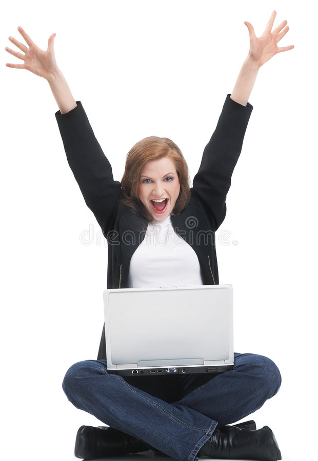 I'm online!. One young businesswoman is sitting on the floor with her laptop and rejoice