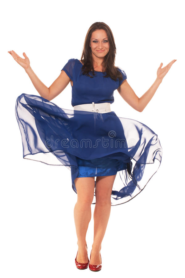I'm ready. Attractive woman in dress is ready to go royalty free stock photo