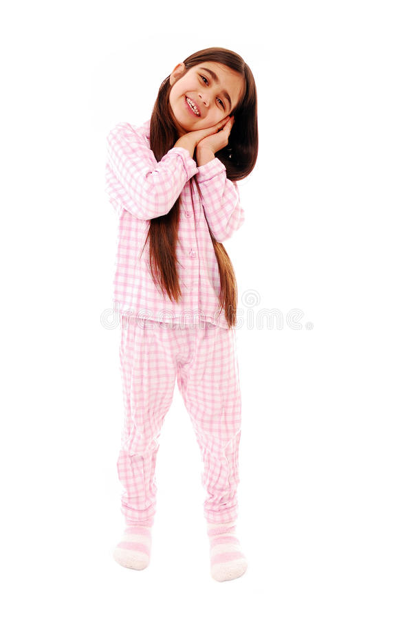 I'm sleepy. Cute little girl ready for bed isolated on white royalty free stock photography