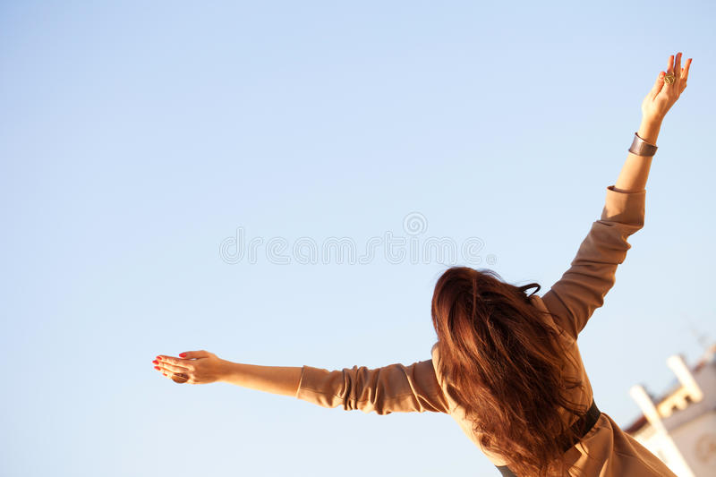 I'm Sooooo Happy. Woman With Raised Hands From Behind royalty free stock image