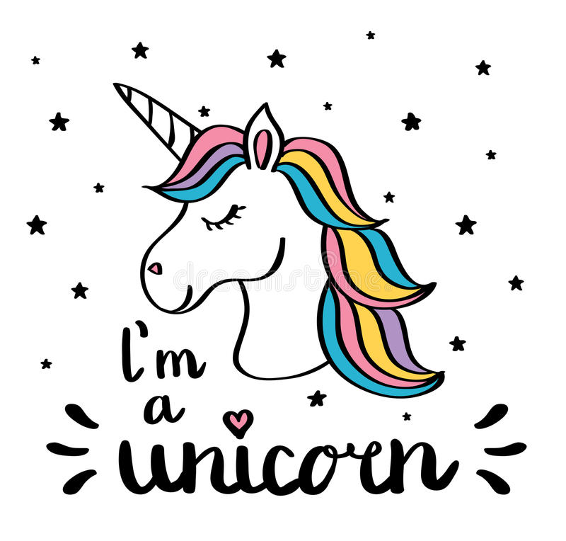 I m. un disegno del testo della scrittura dell'unicorno isolato su bianco illustrazione di stock