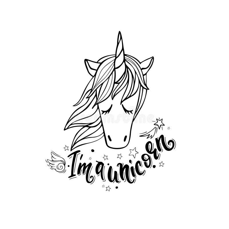 I ` m. un unicorno illustrazione di stock