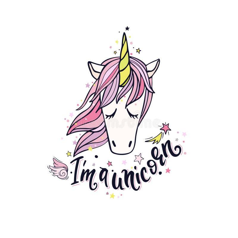 I ` m. un unicorno a colori illustrazione vettoriale