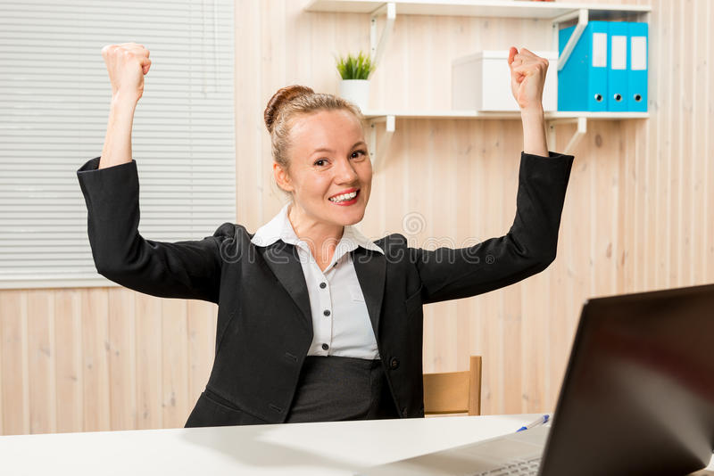 I made a good deal!. I made a good deal !!! Business woman in office rejoicing his success stock images