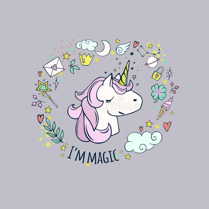 I magi för ` M gullig unicorn royaltyfri illustrationer