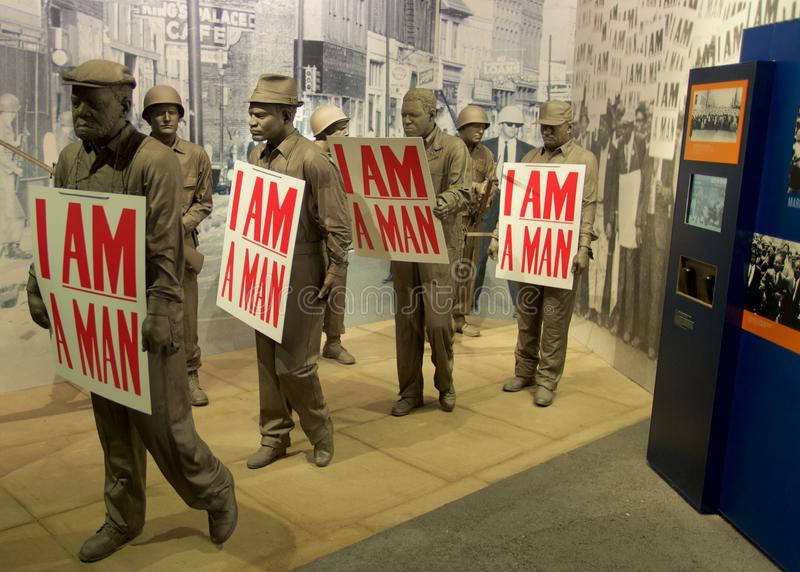 I Am A Man Statue Exhibit inside the National Civil Rights Museum at the Lorraine Motel. African American statues with protest signs exhibit inside the National stock photos