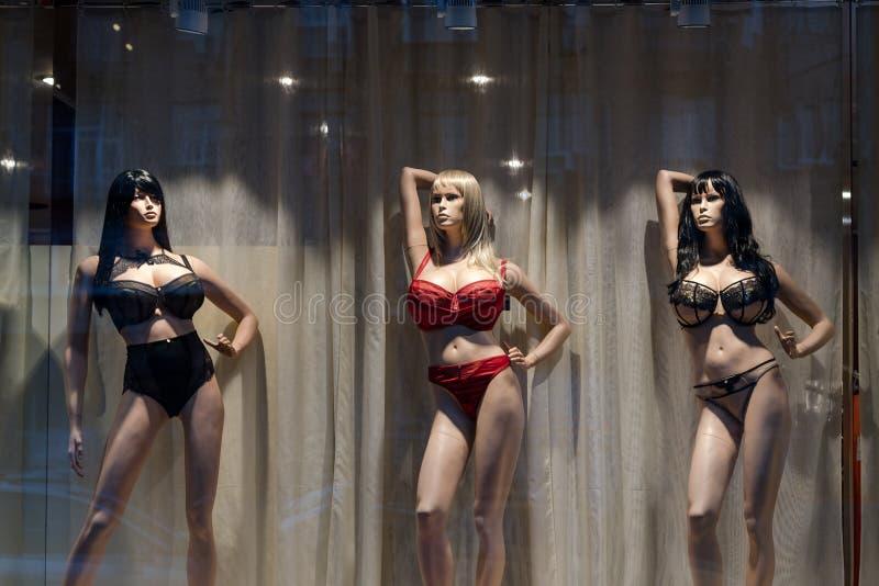 I manichini femminili di plastica del seno grande in biancheria intima alla notte montrano Uso del manichino del deposito di modo immagini stock