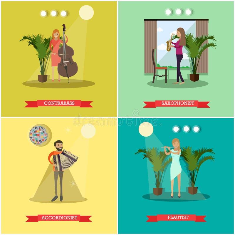 I manifesti piani di vettore hanno messo con i musicisti che giocano gli strumenti musicali illustrazione di stock
