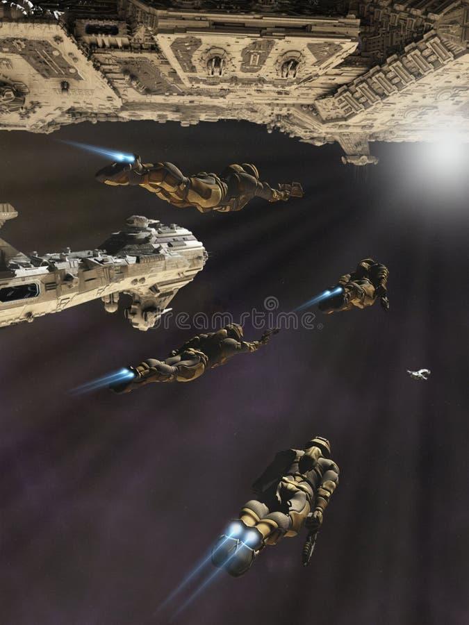 Partito di imbarco della fantascienza illustrazione vettoriale
