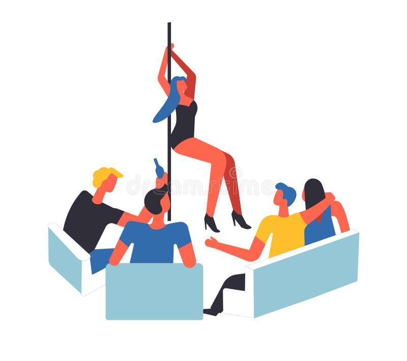 I maschi della gente che guardano la ragazza di dancing sul palo hanno isolato il vettore illustrazione vettoriale