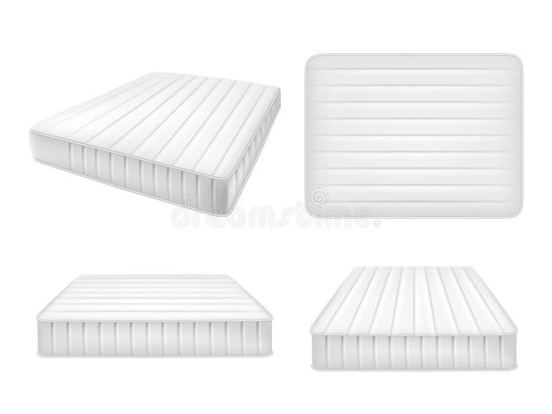 I materassi bianchi del letto mettono, vector l'illustrazione realistica illustrazione vettoriale