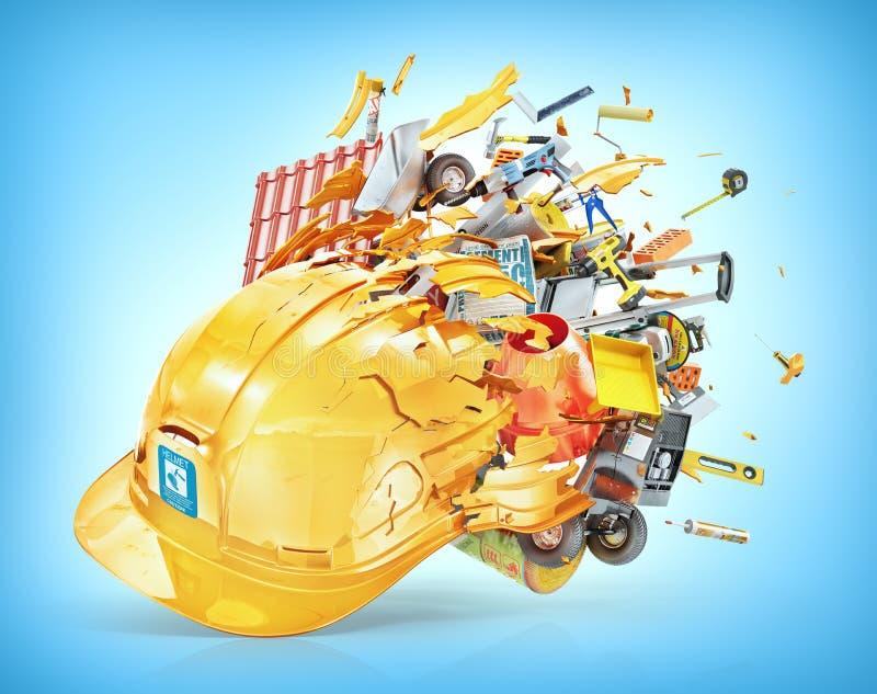 I materiali da costruzione volano fuori dal casco rotto illustrazione 3D illustrazione di stock