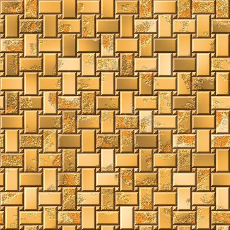 I mattoni del metallo dell'oro placcano la struttura del modello - fondo senza cuciture illustrazione di stock