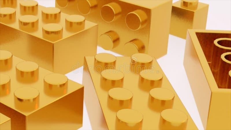 I mattoni di plastica di lego dell'oro giocano illustrazione di stock
