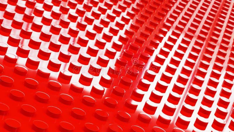 i mattoni rossi del giocattolo della costruzione sorgono il illusration del backgrounf 3d royalty illustrazione gratis
