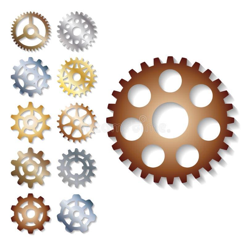 I meccanici dell'illustrazione di vettore dell'ingranaggio che innestano la forma dello sviluppo di web lavorano l'elemento del m illustrazione vettoriale