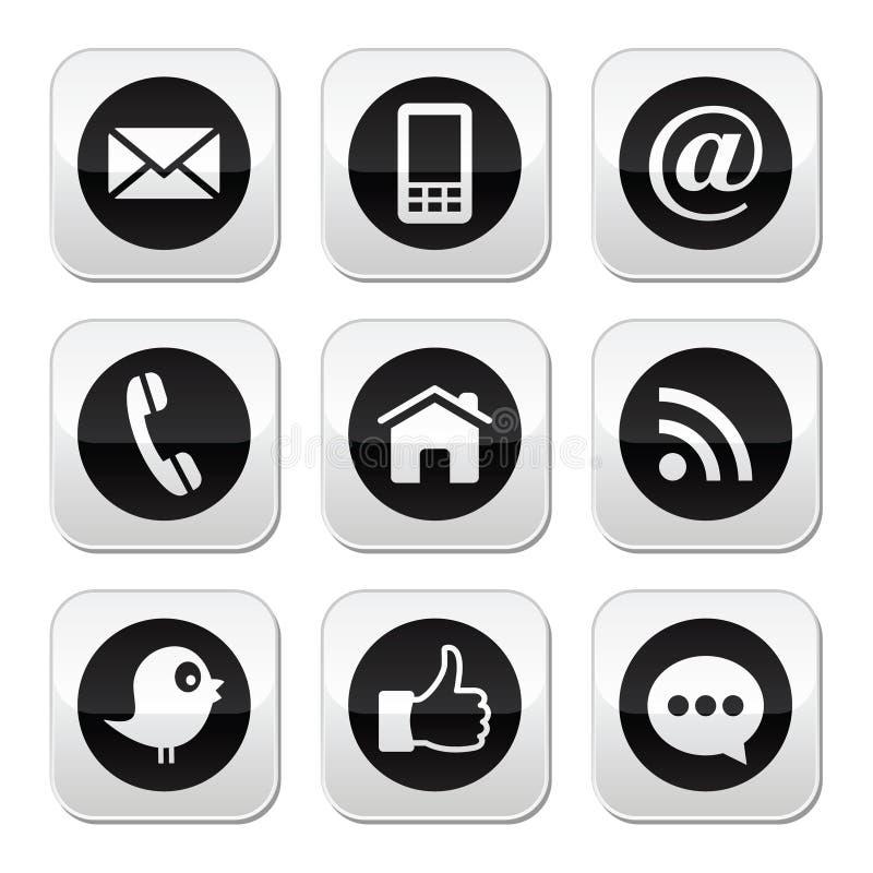 I media del contatto, di web, del blog e del sociale abbottonano - il cinguettio, il facebook, rss royalty illustrazione gratis
