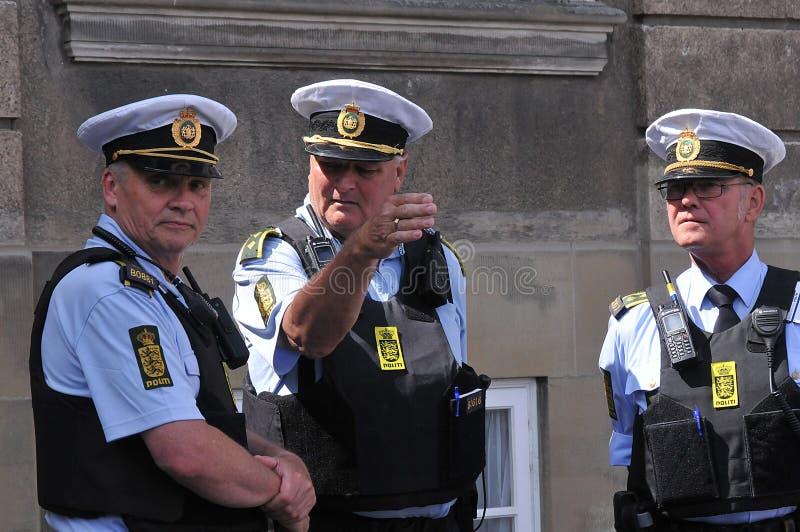 I media della Danimarca e polizia di secuity della polizia a Copenhaghen fotografia stock