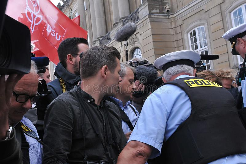 I media della Danimarca e polizia di secuity della polizia a Copenhaghen fotografia stock libera da diritti