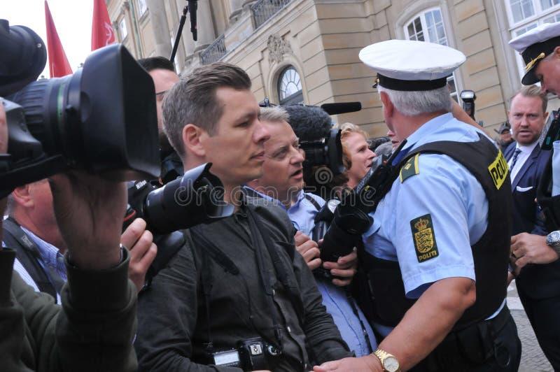 I media della Danimarca e polizia di secuity della polizia a Copenhaghen immagine stock libera da diritti