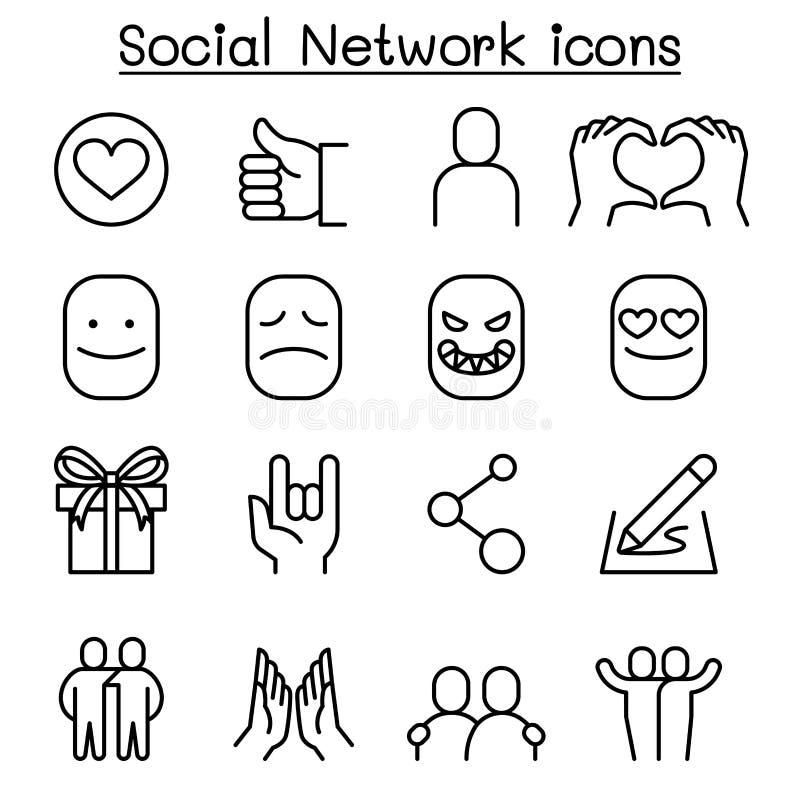 I media & l'icona sociali della rete sociale hanno messo nella linea stile sottile illustrazione vettoriale