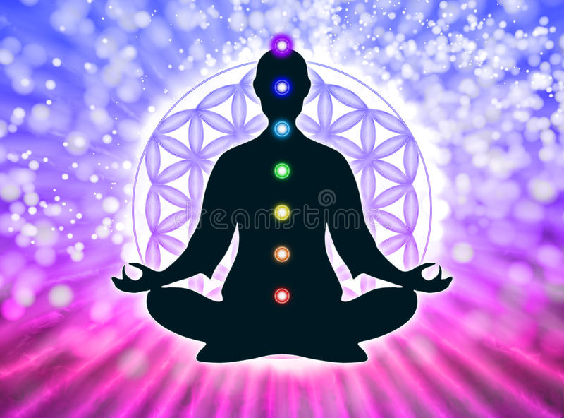 I meditation med chakras vektor illustrationer