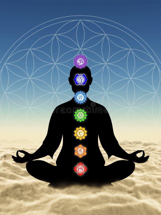 I meditation med ovannämnda moln för chakras vektor illustrationer