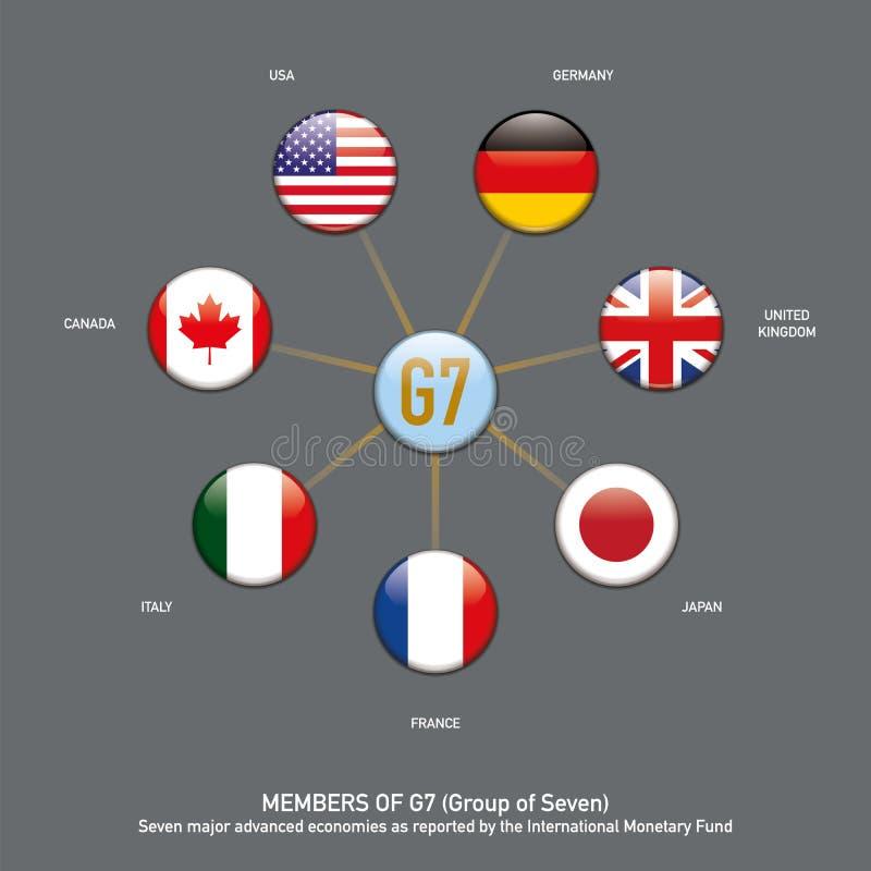 I membri della bandiera il G7 si abbottona infographic illustrazione vettoriale