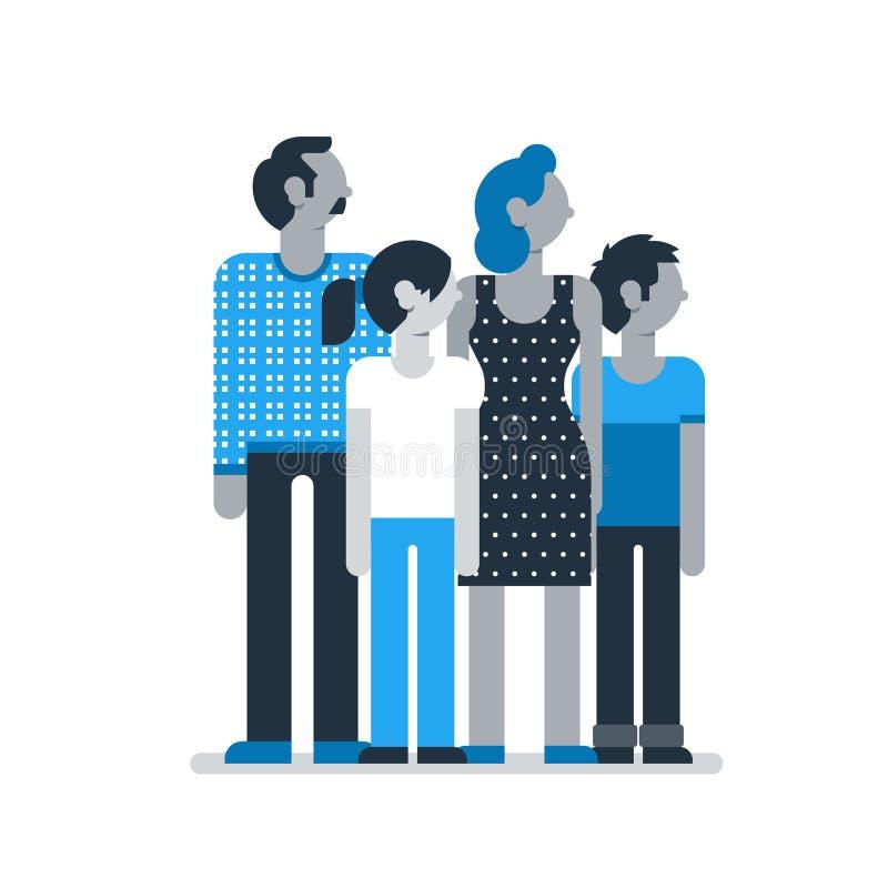 I membri della famiglia che stanno insieme, bambini dei genitori generano la figlia del figlio del padre royalty illustrazione gratis
