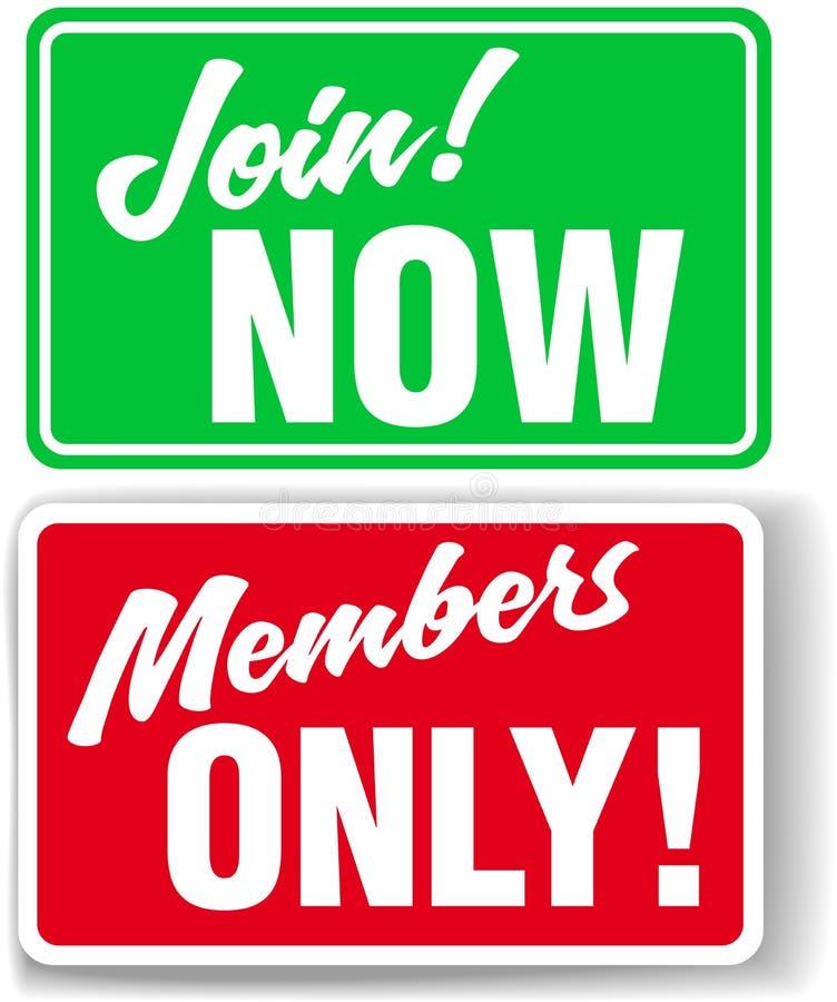 I membri di Web site soltanto o uniscono i segni di Web site illustrazione vettoriale
