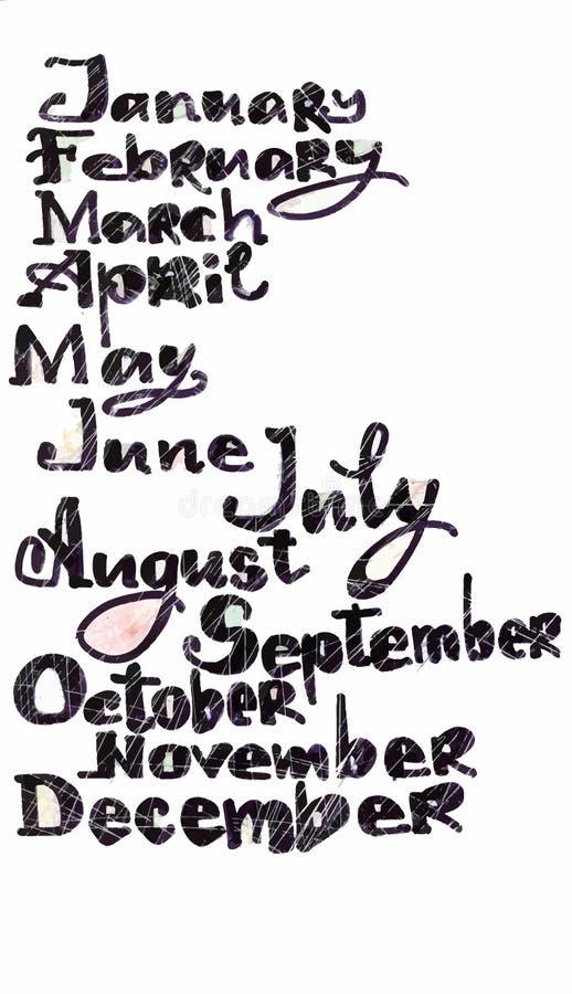 I mesi dell'anno modellano, lettere disegnate a mano colorate con il modello di arte del pixel sopra bianco, copertura del calend illustrazione vettoriale