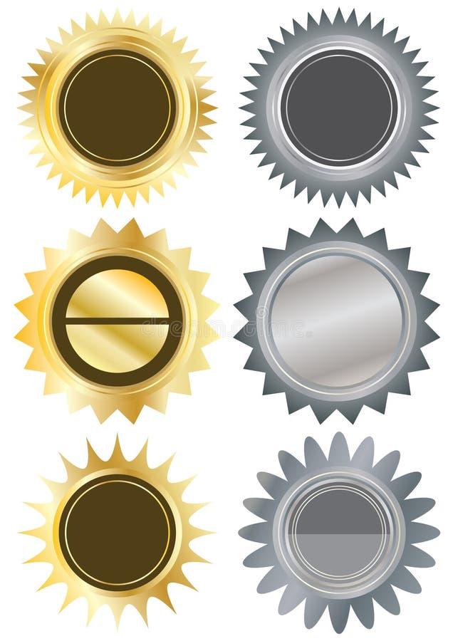 I metalli circondano Stickers_eps in bianco royalty illustrazione gratis