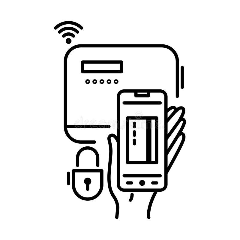 I metodi di pagamento assottigliano la linea icona Paga online, telefono cellulare, applicazione dello smartphone royalty illustrazione gratis