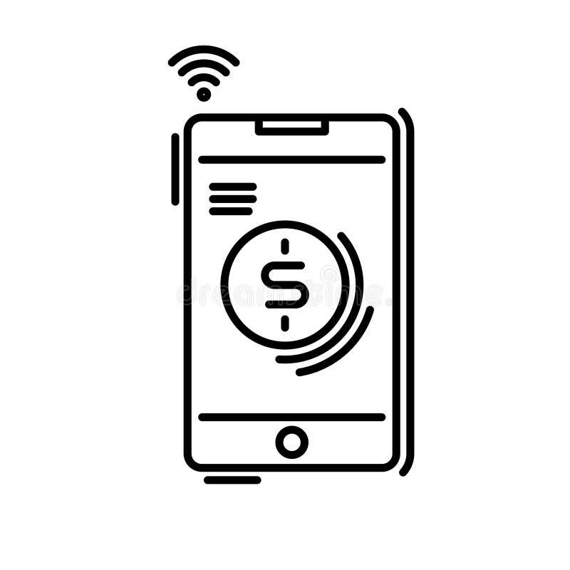 I metodi di pagamento assottigliano la linea icona Paga online, telefono cellulare, applicazione dello smartphone illustrazione vettoriale