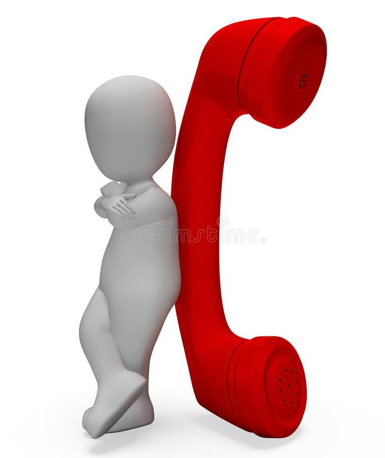 I mezzi del telefono del carattere ora chiamano e chiamano la rappresentazione 3d illustrazione vettoriale