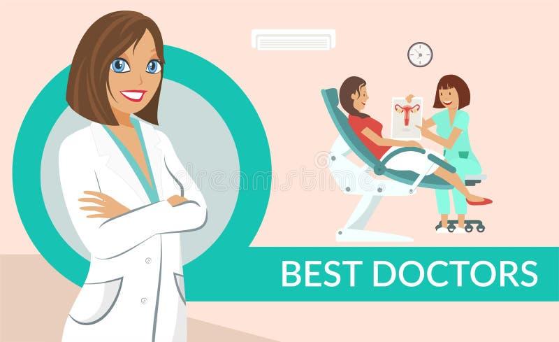 I migliori dottori assistono la disposizione piana del manifesto di vettore illustrazione di stock