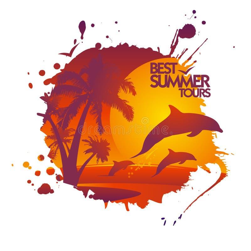 I migliori giri dell'estate progettano con i delfini al tramonto. illustrazione di stock