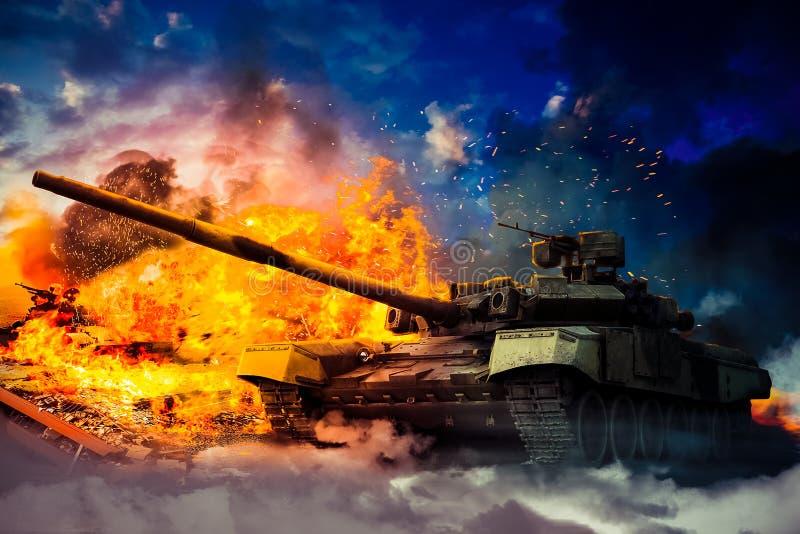 I militari hanno distrutto il carro armato nemico fotografia stock
