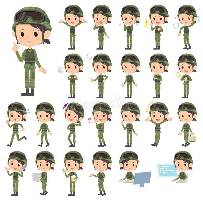 I militari indossano la donna illustrazione di stock