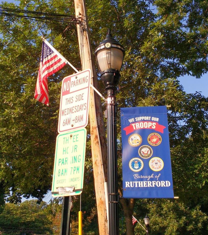 I militari sostengono, noi sostengono le nostre truppe, Rutherford, NJ, U.S.A. immagine stock