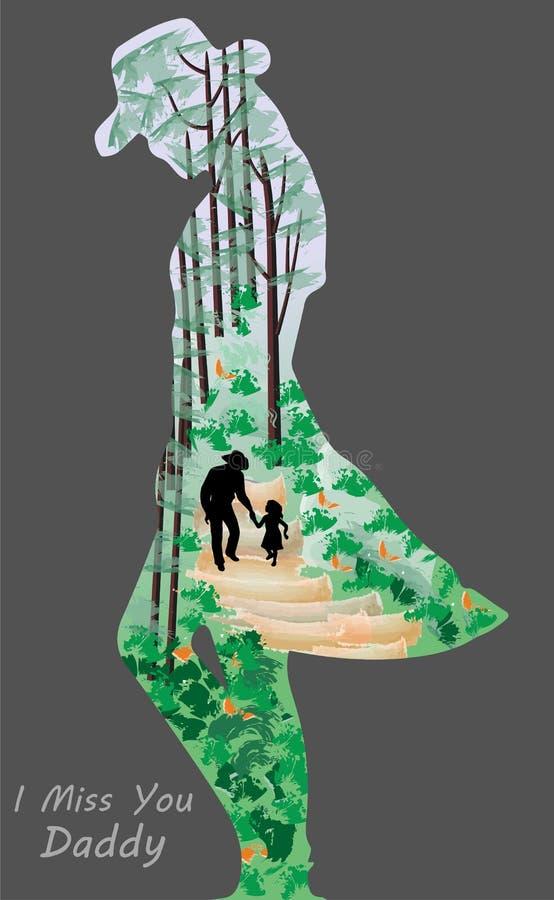 I Miss You Daddy Illustration Design. vector illustration