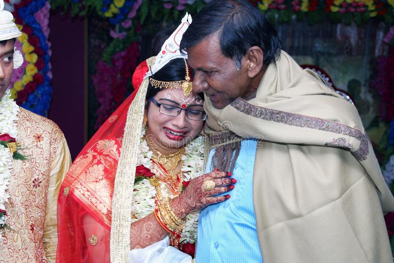 I Miss you daddy. The traditional Bengali wedding rituals quite meaningful and interesting stock photo