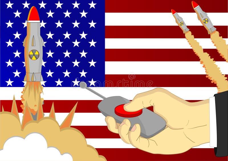 I missili nucleari stanno lanciandi premendo il bottone rosso b royalty illustrazione gratis