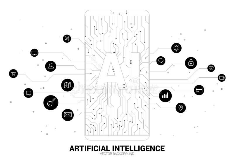 A.i. in mobile phone with circuit line graphic. Concept of mobile telecommunication with machine learning. Artificial Intelligence royalty free illustration